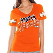 Touch by Alyssa Milano Women's Denver Broncos Glitter V-Neck Orange T-Shirt