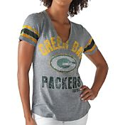 G-III for Her Women's Green Bay Packers Any Sunday Grey T-Shirt