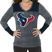 G-III for Her Women's Houston Texans Goal Line Navy Long Sleeve Shirt