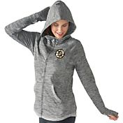 G-III 4Her Women's Boston Bruins Recovery Grey Full-Zip Hoodie