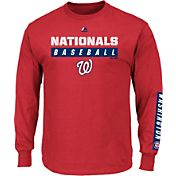 Majestic Men's Washington Nationals Proven Pastime Red Long Sleeve Shirt