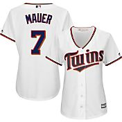 Majestic Women's Replica Minnesota Twins Joe Mauer #7 Cool Base Home White Jersey