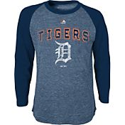 Majestic Youth Detroit Tigers Navy Raglan Long Sleeve Shirt
