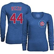 Majestic Threads Women's Chicago Cubs Anthony Rizzo 44 Royal T- Shirt