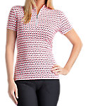 Tail Women's Printed Mock Neck Mesh Inserts Polo