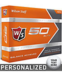 Wilson Staff Fifty Elite Orange Personalized Golf Balls - 12 Pack