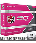 Wilson Staff Fifty Elite Pink Personalized Golf Balls - 12 Pack