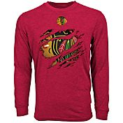 Levelwear Men's Chicago Blackhawks Ripped Logo Red Long Sleeve T-Shirt