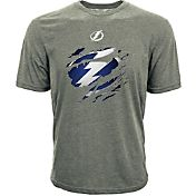Levelwear Youth Tampa Bay Lightning Ripped Logo Grey T-Shirt
