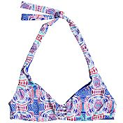 Roxy Women's Printed Strappy Love Reversible Halter Bikini Top