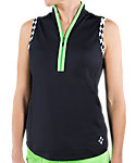 Jofit Women's Jacquard Tapered Sleeveless Mock Polo