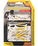Pride PTS Evolution 1 1/2'' & 2 3/4'' White Golf Tees - 50 Pack