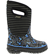 BOGS Kids' Classic Flower Stripes 10'' Insulated Rain Boots