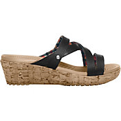 Crocs Women's A-Leigh Mini Wedge Leather Sandals