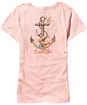 Salt Life Women's Anchor Coral V-Neck T-Shirt