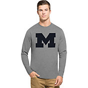 '47 Men's Michigan Wolverines Grey Big 'M' Club Long Sleeve Shirt