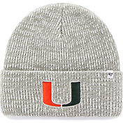 '47 Men's Miami Hurricanes Heathered Grey Brain Freeze Cuffed Knit