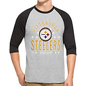 '47 Men's Pittsburgh Steelers Lockdown Raglan Grey Shirt