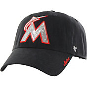 '47 Women's Miami Marlins Sparkle Clean Up Black Adjustable Hat