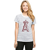 '47 Women's Los Angeles Angels Sparkle White Striped T-Shirt