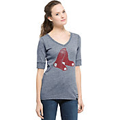 '47 Women's Boston Red Sox Roster Navy Tri-Blend Half-Sleeve Shirt