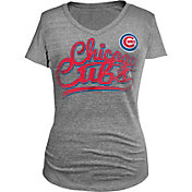 5th & Ocean Women's Chicago Cubs Tri-Blend V-Neck Grey T-Shirt