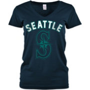 5th & Ocean Women's Seattle Mariners Navy V-Neck T-Shirt