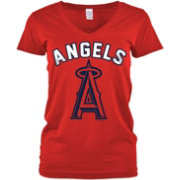 5th & Ocean Women's Los Angeles Angels Red V-Neck T-Shirt
