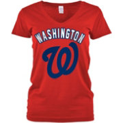 5th & Ocean Women's Washington Nationals Red V-Neck T-Shirt