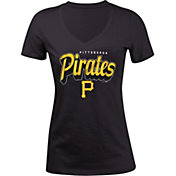 5th & Ocean Women's Pittsburgh Pirates Black V-Neck T-Shirt