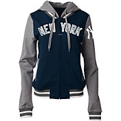 5th & Ocean Women's New York Yankees Navy/Grey Full-Zip Hoodie