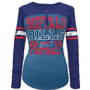 5th & Ocean Women's Buffalo Bills Tri-Blend Henley Long Sleeve Shirt