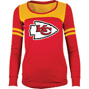 5th & Ocean Women's Kansas City Chiefs Glitter Red Long Sleeve Shirt