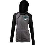 5th & Ocean Women's Philadelphia Eagles Tri-Blend Grey Full-Zip Hoodie