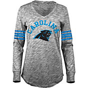 5th & Ocean Women's Carolina Panthers Space Dye Black Long Sleeve Shirt
