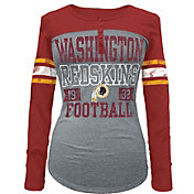 5th & Ocean Women's Washington Redskins Tri-Blend Henley Long Sleeve Shirt