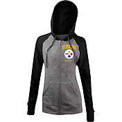 5th & Ocean Women's Pittsburgh Steelers Tri-Blend Grey Full-Zip Hoodie