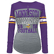 5th & Ocean Women's Minnesota Vikings Tri-Blend Henley Long Sleeve Shirt