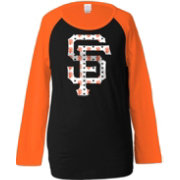 5th & Ocean Youth Girls' San Francisco Giants Raglan Black Long Sleeve Shirt
