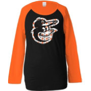 5th & Ocean Youth Girls' Baltimore Orioles Raglan Black Long Sleeve Shirt