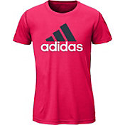 adidas Girls' Logo Graphic V-Neck T-Shirt