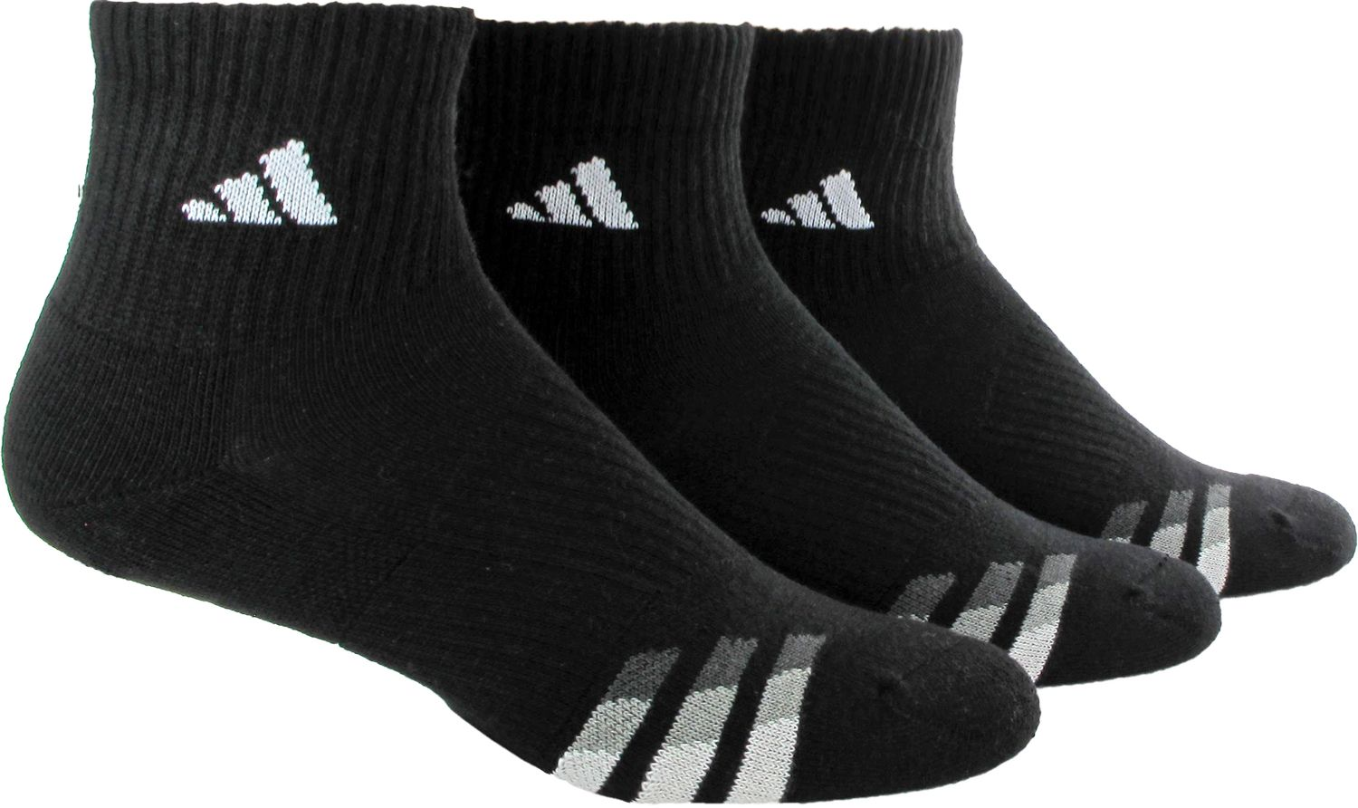 adidas Mens Cushioned Quarter Athletic Socks 3 Pack DICKS Sporting Goods