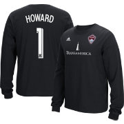 adidas Men's Colorado Rapids Tim Howard #1 Long Sleeve Player Black T-Shirt