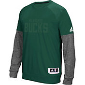 adidas Men's Milwaukee Bucks On-Court Green/Grey Long Sleeve Shooting Shirt