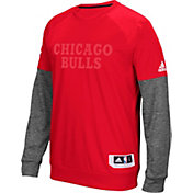 adidas Men's Chicago Bulls On-Court Red/Grey Long Sleeve Shooting Shirt
