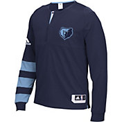 adidas Men's Memphis Grizzlies On-Court Navy Long Sleeve Shooting Shirt