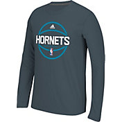 adidas Men's Charlotte Hornets climalite Grey Long Sleeve Shirt