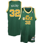adidas Originals Men's Utah Jazz Karl Malone #32 Green Throwback Swingman Jersey