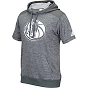 adidas Men's Dallas Mavericks Pre-Game Grey Short Sleeve Hoodie
