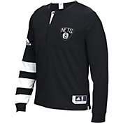adidas Men's Brooklyn Nets On-Court Black Long Sleeve Shooting Shirt